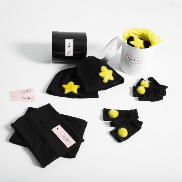 Набор норка в коробке (шапка, снуд, митенки)