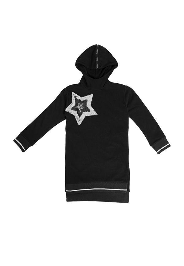 Платье худи звезда черное