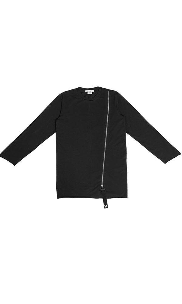 Лонгслив футболка молния черная
