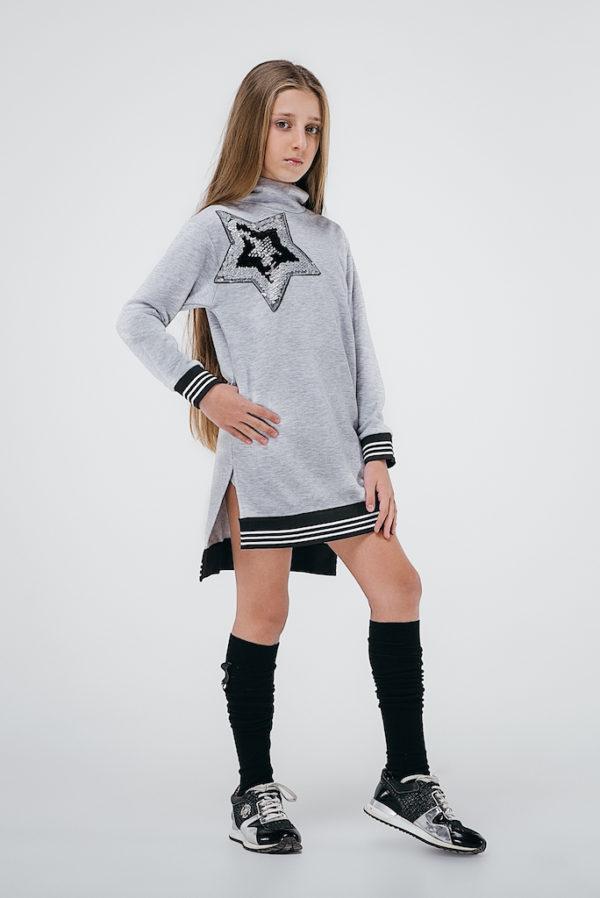 Платье худи звезда серое