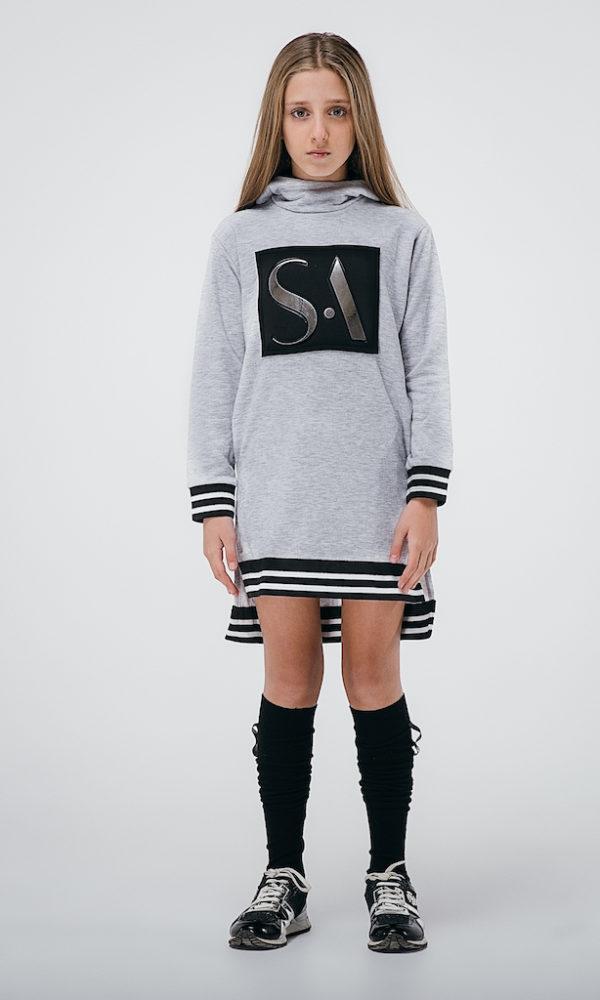 Платье худи бренд SA серое