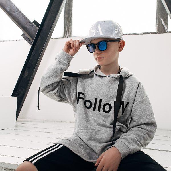Худи FOLLOW серый