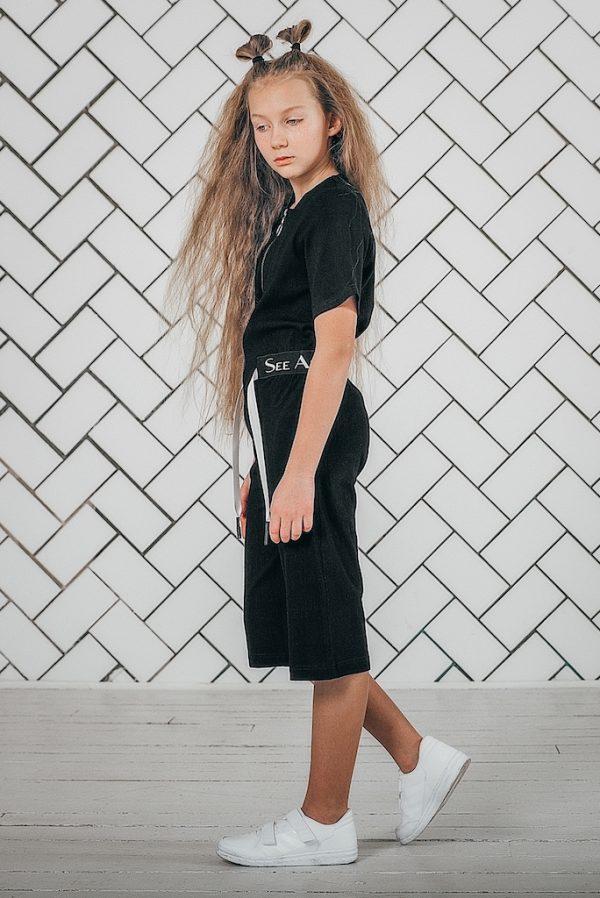 Комбинезон лен FOLLOW черный