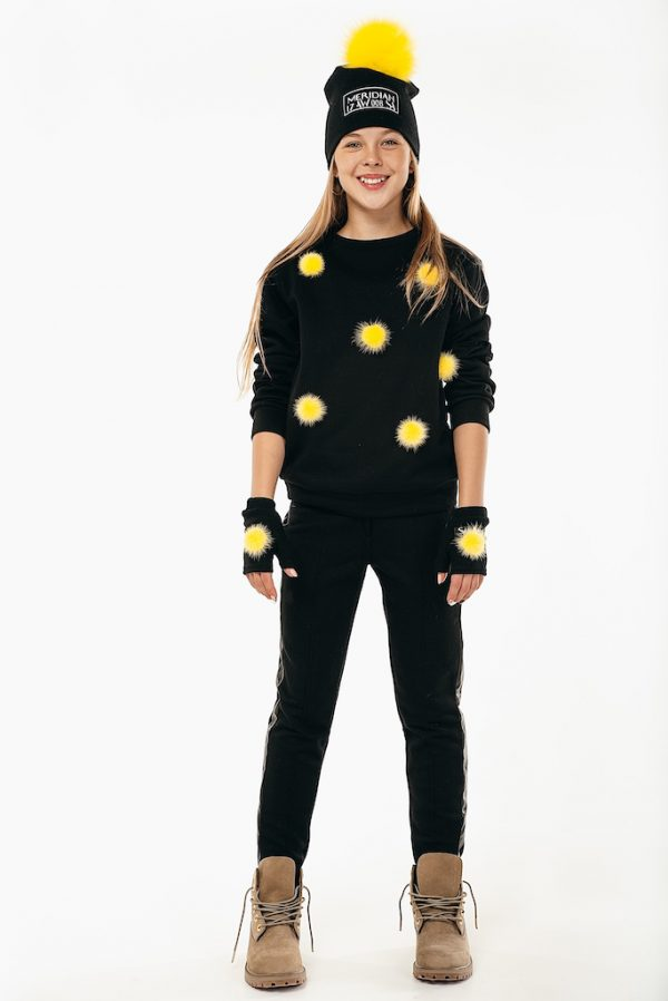 Свитшот See Arsi Meridian с желтыми норковыми помпонами